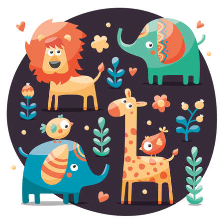 wild berry: cute set with elephants, lion,giraffe, birds, plants, jungle, flowers, hearts leafs stone berry for kids wild wildlife