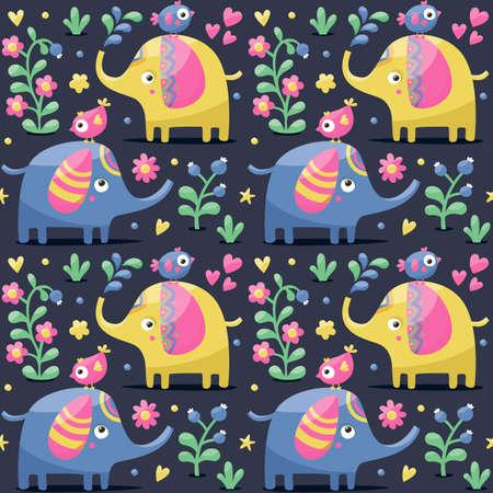wild berry: Seamless cute pattern made with elephants, birds, plants, jungle, flowers, hearts berry wild wildlife