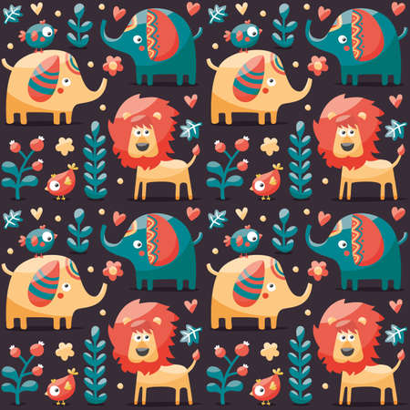 indy: Seamless cute pattern made with elephants, lion,giraffe, birds, plants, jungle, flowers, hearts, leafs stone berry for kids wild wildlife Illustration
