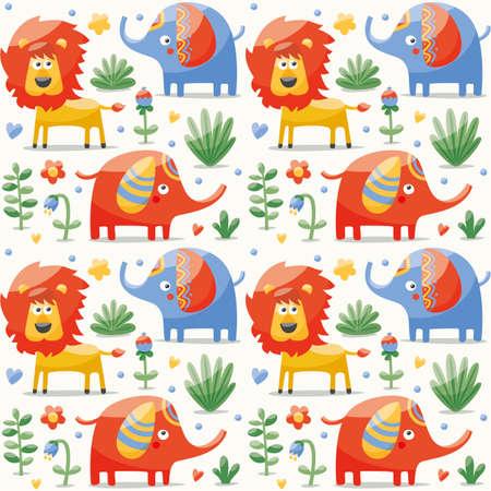 wild berry: Seamless cute pattern made with elephants, lion,giraffe, birds, plants, jungle, flowers, hearts, leafs stone berry for kids wild wildlife Illustration