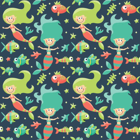 seabed: Marine cute seamless pattern with mermaids, fishes, algae, starfish, coral, seabed, bubble graphic, decor aquarium shape object funny collection
