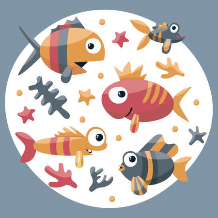 Marine cute set with fishes, algae, starfish, coral, seabed, bubble for kids undersea