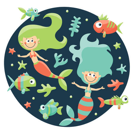 seabed: Marine cute set with mermaids, fishes, algae, starfish, coral seabed bubble undersea