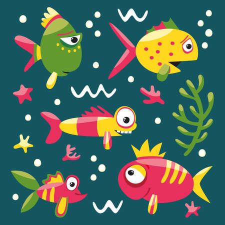 seabed: Fishes and algae wildlife starfish set sea ocean seabed
