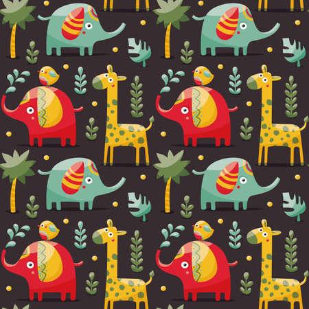 Modelo inconsútil con los elefantes, jirafas, pájaro, palma, plantas, animales de la selva salvaje del bosque de dibujos animados