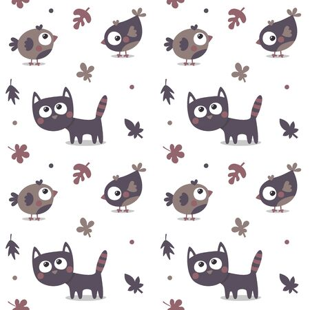 Seamless animal autumn pattern made with cat, bird, flower, plant, leaf