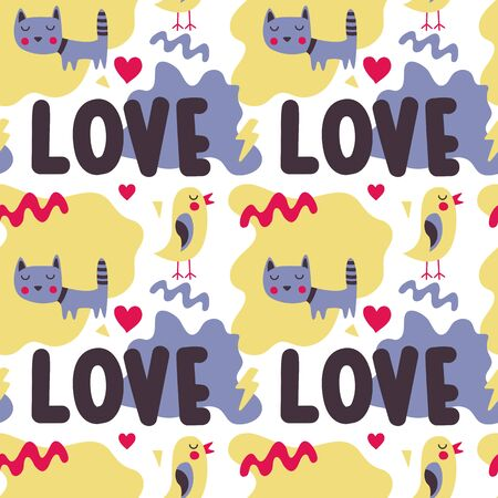 Seamless bright colorful cute pattern with love, hearts, cat, bird, friends, Valentines Day