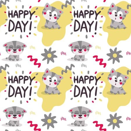 Seamless bright colorful cute pattern with love, hearts, cat, kitten, pet, friends, flower, Valentines Day