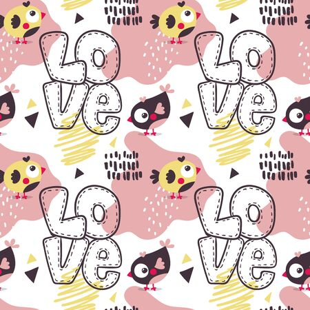 Seamless bright colorful cute pattern with love, hearts, birds, friends, Valentines Day