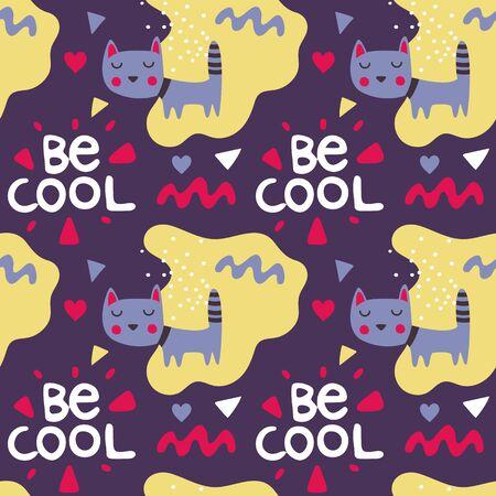 Seamless bright colorful cute pattern with love, hearts, cat, friends, Valentines Day