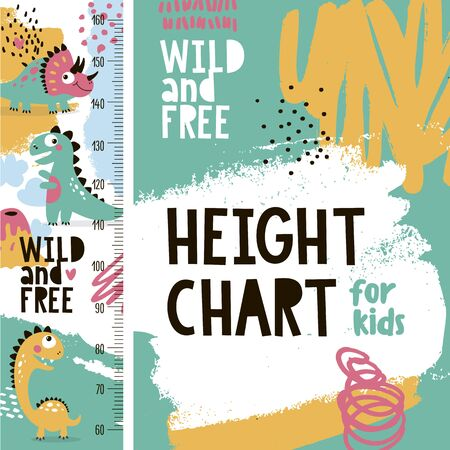 Cute animal vector height chart meter for kds with dinosaurs, volcano and various graphic elements Vektoros illusztráció