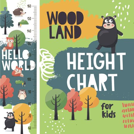 Cute woodland vector height chart meter for kids with animals: fox, bear, hedgehog, trees, plants, nature