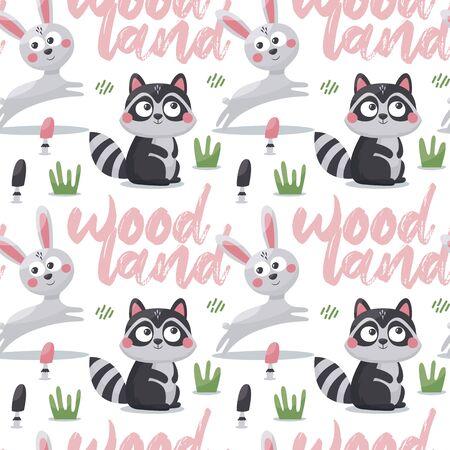 Seamless cute animal pattern with hares, raccoon, mushroom, plant