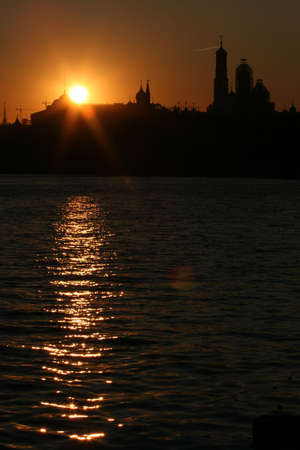 sunset in the river Moscow photo