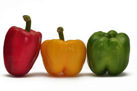 bell peppers in a line