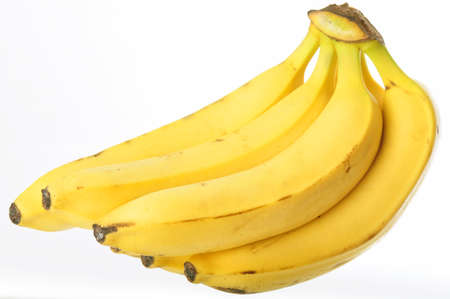 Bunch of ripe organic bananas isolated on a pure white background Stock Photo