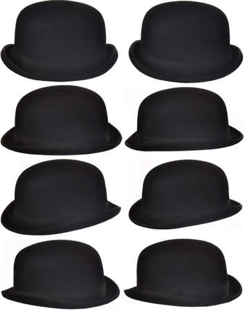 headgear: eight angles of an isolated bowler or derby hat