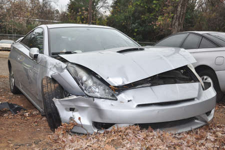 totaled: Front end collision of a Toyota Celica