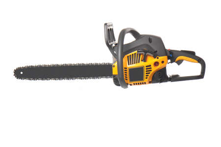 serrate: Yellow and black chainsaw isolated on whote