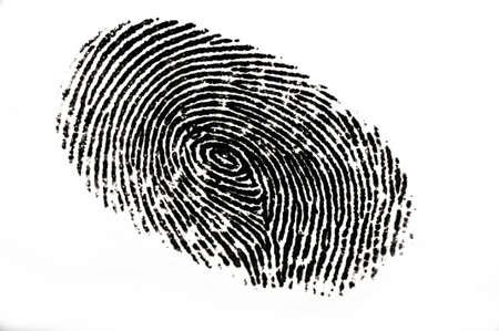 thumb keys: Isolated black fingerprint against a white background Stock Photo