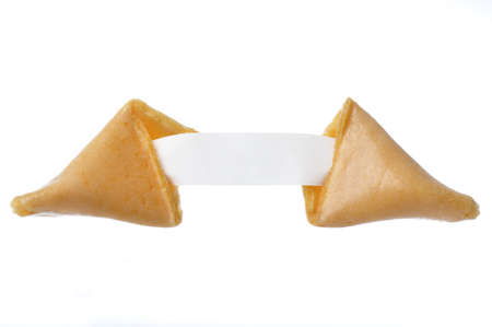Isolated fortune cookie with blank fortune paper for adding text photo