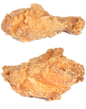 two pieces of fried chicken isolated on a white background Stock Photo