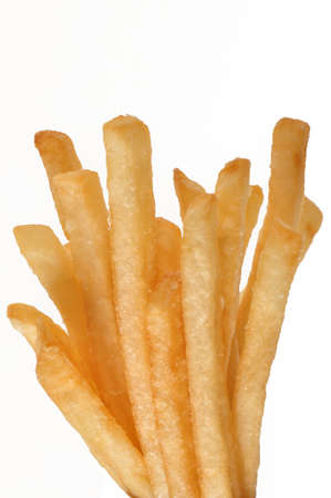 grouping of french fries isolated on white background Stock Photo