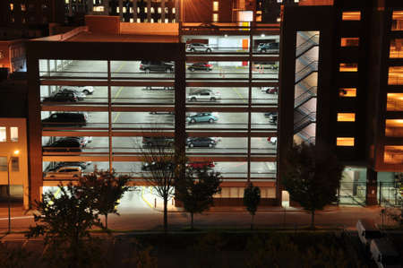 night time view of a parking garage in downtown Raleigh, North Carolina