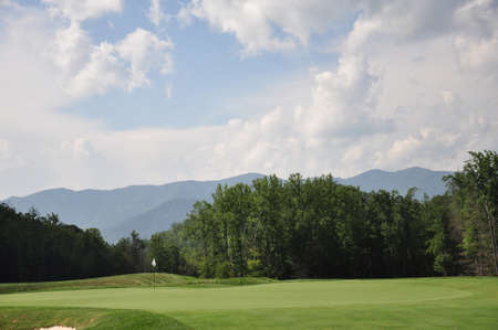 Green of a mountain golf course in North Carolina