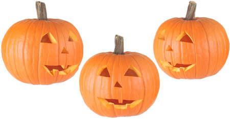 drie aanzichten van een traditionele Halloween Jackolantern, geïsoleerd op wit Stockfoto