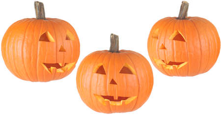 three views of a traditional Halloween Jackolantern, isolated on white