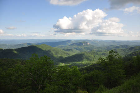 Scenic view of Looking Glass Rock, a mountain formation in the Appalachian mountains near Asheville, North Carolina  photo