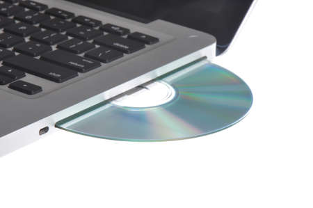 rom: CD or DVD drive of a modern Apple Macbook Pro Stock Photo