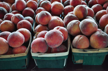 Juicy peaches ready for sale at a farmers market in Raleigh, North Carolina