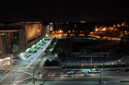 aerial view of downtown Raleigh, North Carolina.  View of the Raleigh Ampitheater and Shimmer Wall photo