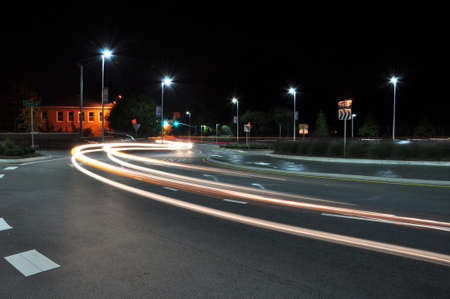 Automobile light trails in downtown Raleigh, North Carolina