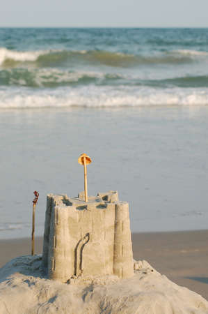 sea mark: sand castle built on the shores of Wrightsville Beach in Wilmington, North Carolina