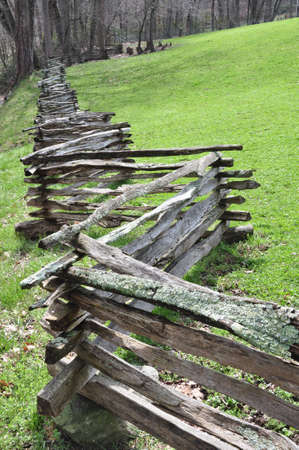 split rail: Rustic home made split rail fence in the mountains of North Carolina
