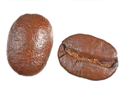 pair of coffee beans isolated on white.  front and back views