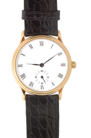 Gold watch with black leather band and roman numeral dial isolated on a white background