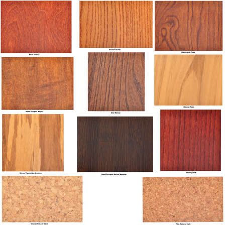Collection of isolated wooden flooring samples, with identifying captions Standard-Bild