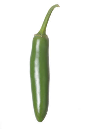 Single Serrano Pepper isolated against a white background Stock Photo