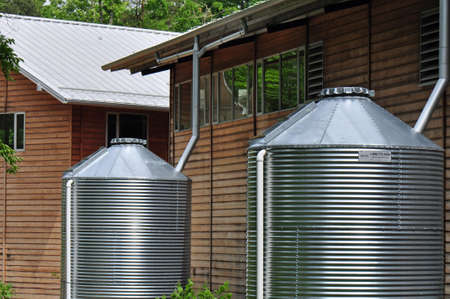 rainwater: Rain Barrels used to collect rain water in Chapel Hill, North Carolina
