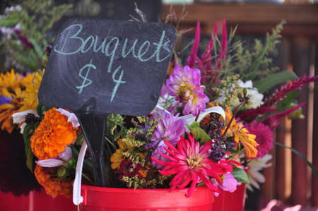 roadside stand: Bouquets of flowers being sold at a roadside stand in Asheville, North Carolina