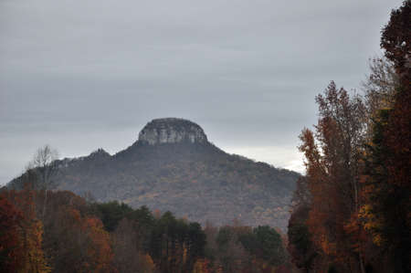Autums scene of Pilot Mountain in western North Carolina photo