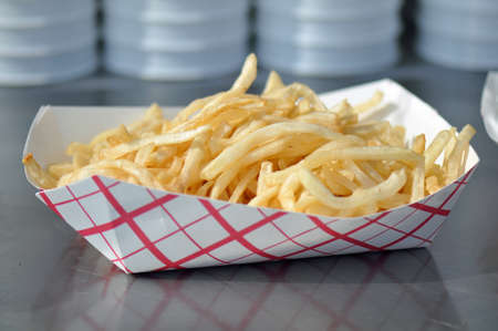 health fair: French Fries sold at the North Carolina State Fair Grounds in Raleigh Stock Photo
