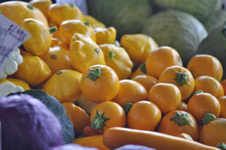 Locally grown produce for sale at the Raleigh Farmers market in North Carolina Stock Photo