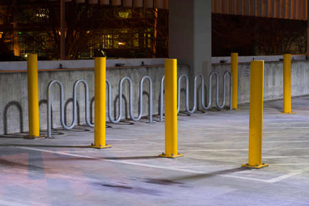 lock up: Automobile parking lot with special protected bike lock up area