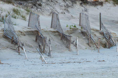 Dune protection fencing at the outer banks in North Carolina Stock Photo
