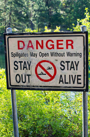 drown: Damn danger sign Stock Photo